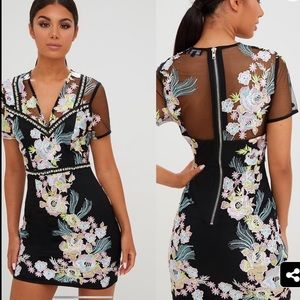 PrettyLittleThing Embroidered Cap Sleeve Dress NWT